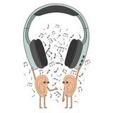 滑稽的人的耳朵听到您从耳机的喜爱的音乐 动画片 向量例证
