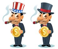 滑稽的人高顶丝质礼帽的和爱国帽子的抽雪茄 库存照片