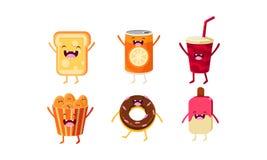 滑稽的便当字符集合,乳酪三明治,苏打饮料,矿块,上釉圆环,冰棍儿传染媒介例证 向量例证
