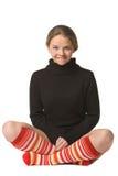滑稽的信奉瑜伽者 免版税库存照片