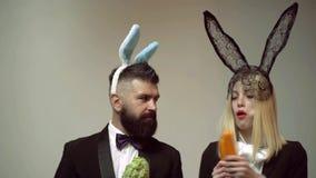 滑稽的兔子夫妇吃红萝卜 兔宝宝与兔宝宝夫妇的耳朵概念 Heppy复活节夫妇 兔子男人和妇女惊奇 股票录像