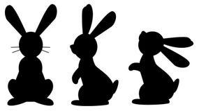滑稽的兔子黑色隔绝了在白色背景的剪影 库存照片