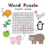 滑稽的动物词难题聪明的比赛 向量例证