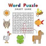 滑稽的动物词难题聪明的比赛 库存例证