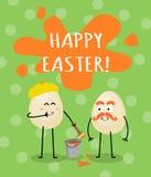 滑稽的动画片五颜六色的复活节卡片 库存例证