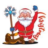 滑稽的动画片圣诞老人用不可思议的棍子在他的手和棕色达克斯猎犬-新年的标志上 库存照片