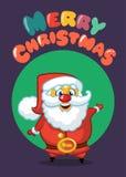 滑稽的动画片圣诞老人贺卡、海报或者邀请 传染媒介圣诞节例证 印刷品的设计 图库摄影