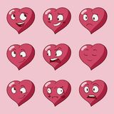 滑稽的动画片心脏字符情感集合,圣华伦泰导航象,被隔绝 皇族释放例证