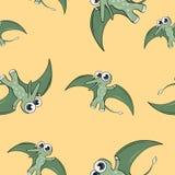 滑稽的动画片恐龙无缝的样式 库存照片
