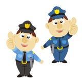 滑稽的动画片警察,二个颜色 库存图片