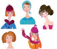 滑稽的图标集合妇女 免版税图库摄影