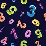 滑稽的图的无缝的样式 字体泡影动画片  孩子的五颜六色的3d果冻数字 向量 向量例证