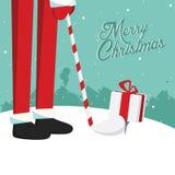 滑稽的圣诞节圣诞老人高尔夫球明信片 免版税库存图片