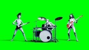 滑稽的外籍人摇滚乐队 低音,鼓,吉他 现实行动和皮肤shaders 4K绿色屏幕英尺长度 库存例证
