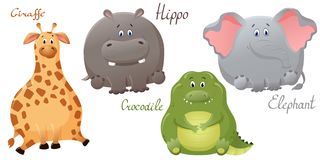 滑稽的大象、长颈鹿、鳄鱼和河马 设置传染媒介逗人喜爱的肥胖卡通人物 乐趣设计的概念为 皇族释放例证