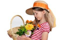 滑稽的女孩帽子向日葵 免版税图库摄影