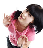 滑稽的女孩查出的粉红色 免版税库存照片