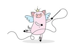 滑稽的女孩猪梦想是芭蕾舞女演员和体操运动员 库存例证