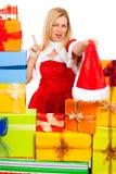 滑稽的女性圣诞节圣诞老人 免版税图库摄影