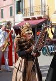 滑稽的妇女木琴手 免版税库存照片