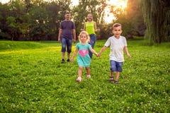 滑稽的定期的家庭获得乐趣一起在公园 免版税库存照片