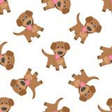 滑稽的小狗动画片无缝的样式 也corel凹道例证向量 皇族释放例证