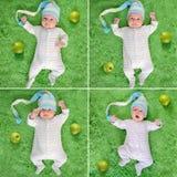 滑稽的帽子周围的醒的婴孩用绿色苹果 库存图片