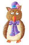 滑稽的帽子猫头鹰紫色佩带 免版税库存图片