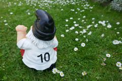 滑稽的庭院gwarf,与第10的足球迷在他的球衣背面,坐一个绿色草甸 免版税库存图片