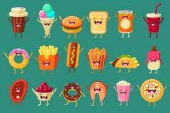 滑稽的快餐喜剧人物铺石,冰淇凌,咖啡,热狗,薄饼,炸薯条,多士,汉堡,软饮料,多福饼 皇族释放例证
