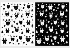 滑稽的手拉的鹿,Fox和树传染媒介样式 向量例证