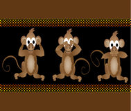 滑稽的明智的猴子不看到罪恶听到罪恶告诉 库存照片