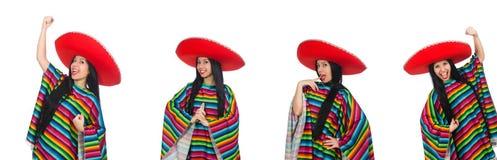 滑稽的概念的墨西哥妇女在白色 免版税库存照片