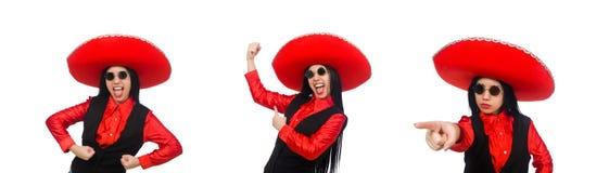 滑稽的概念的墨西哥妇女在白色 免版税图库摄影