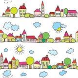 滑稽的模式无缝的城镇 免版税库存图片