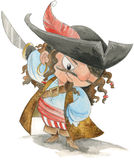 滑稽的海盗水彩 免版税库存图片