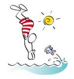 滑稽的游泳者 库存图片