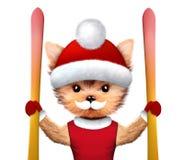 滑稽的狗佩带的帽子 圣诞节概念 库存图片