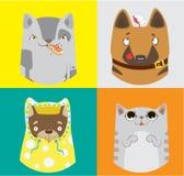 滑稽的狗和猫的汇集 五颜六色的要素模式分别地导航 皇族释放例证