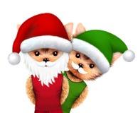 滑稽的狗圣诞老人和矮子 圣诞节概念 库存照片