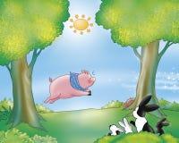 滑稽的猪兔子 免版税库存图片