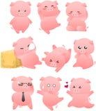 滑稽的猪动画片收藏 免版税库存照片