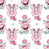 滑稽的猪的无缝的样式激动喜悦和困窘的 皇族释放例证