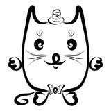 滑稽的猫绅士帽子的和有蝶形领结的 库存图片