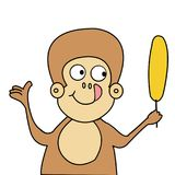 滑稽的猴子和香蕉动画片传染媒介 免版税库存照片