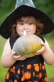 滑稽的矮小的巫婆用南瓜 库存照片