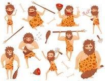 滑稽的石器时期史前人用被设置的不同的情况,原始穴居人卡通人物传染媒介例证 向量例证