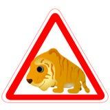 滑稽的符号老虎警告 皇族释放例证