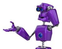 滑稽的紫色机器人在白色背景中看动画片 皇族释放例证
