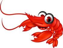 滑稽的红色虾动画片 免版税库存照片